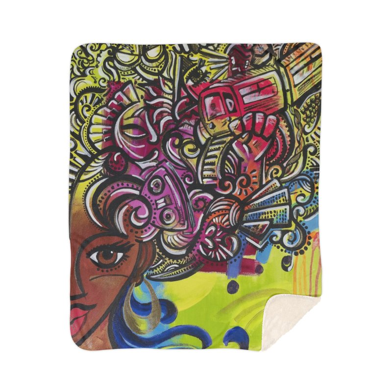 Afro Series 1 Home Sherpa Blanket Blanket by Amanda Seales