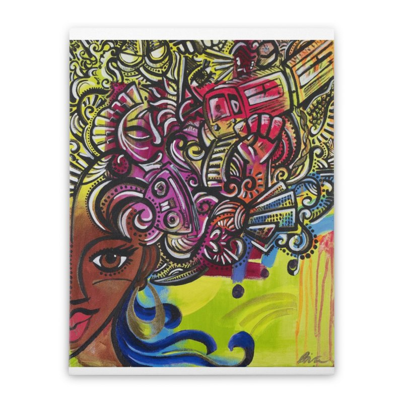 Afro Series 1 Home Stretched Canvas by amandaseales's Artist Shop
