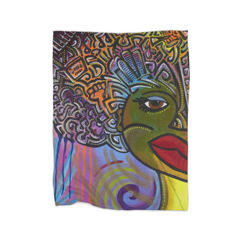 Afro Series 2 Home Fleece Blanket Blanket by Amanda Seales