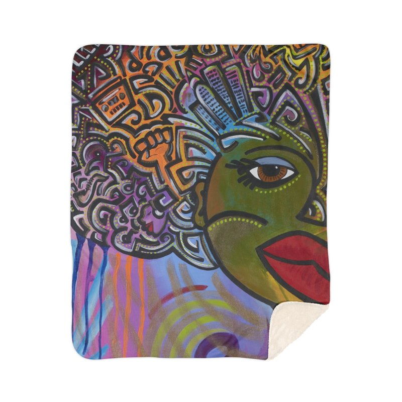 Afro Series 2 Home Sherpa Blanket Blanket by Amanda Seales