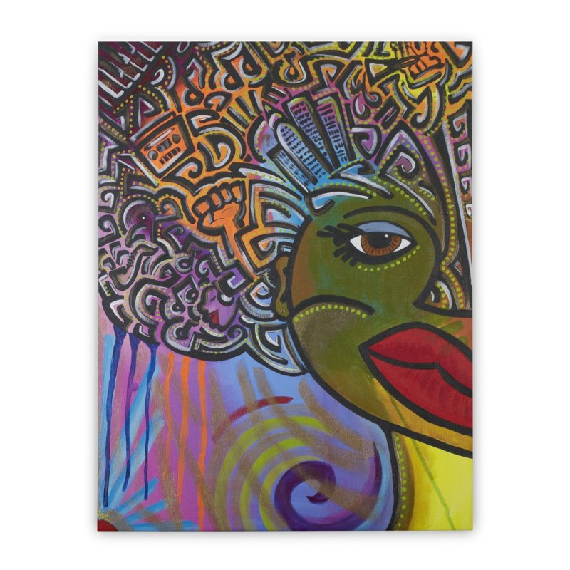 Afro Series 2 Home Stretched Canvas by amandaseales's Artist Shop