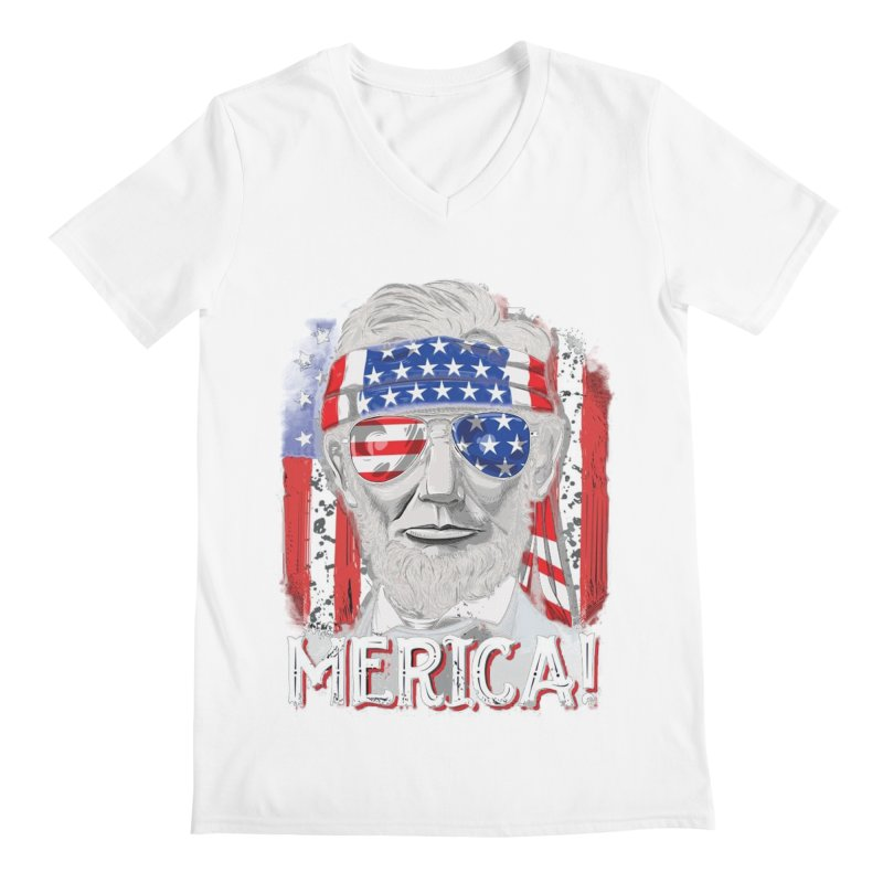0a8e7a55f Merica Abe Lincoln T shirt 4th of July American Flag Murica Men's V-Neck by