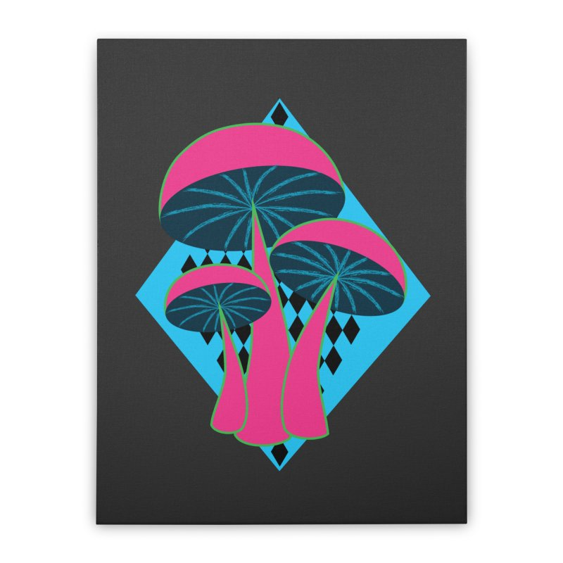 Radical Mushrooms Home Stretched Canvas by ambersphere's artist shop