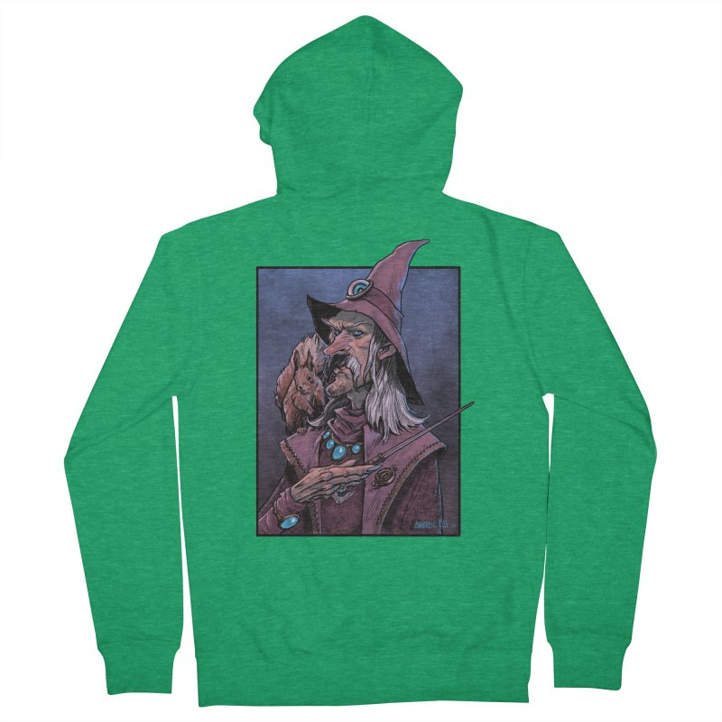 Wizard with Squirrel Women's Zip-Up Hoody by Ambrose H.H.'s Artist Shop