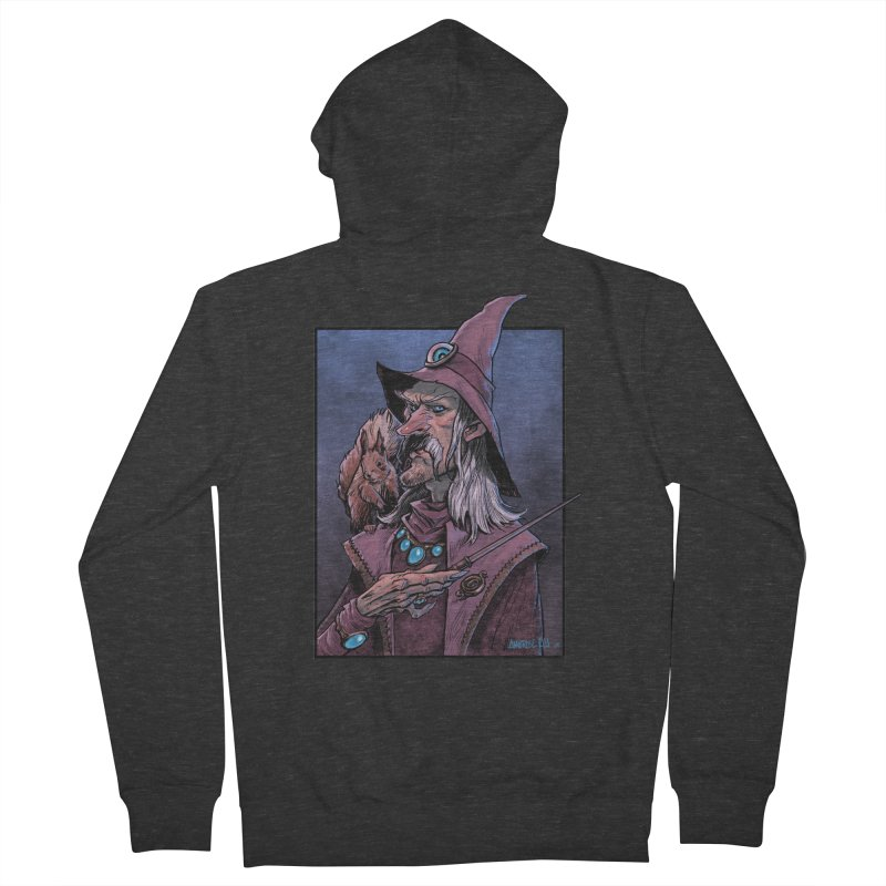 Wizard with Squirrel Women's French Terry Zip-Up Hoody by Ambrose H.H.'s Artist Shop
