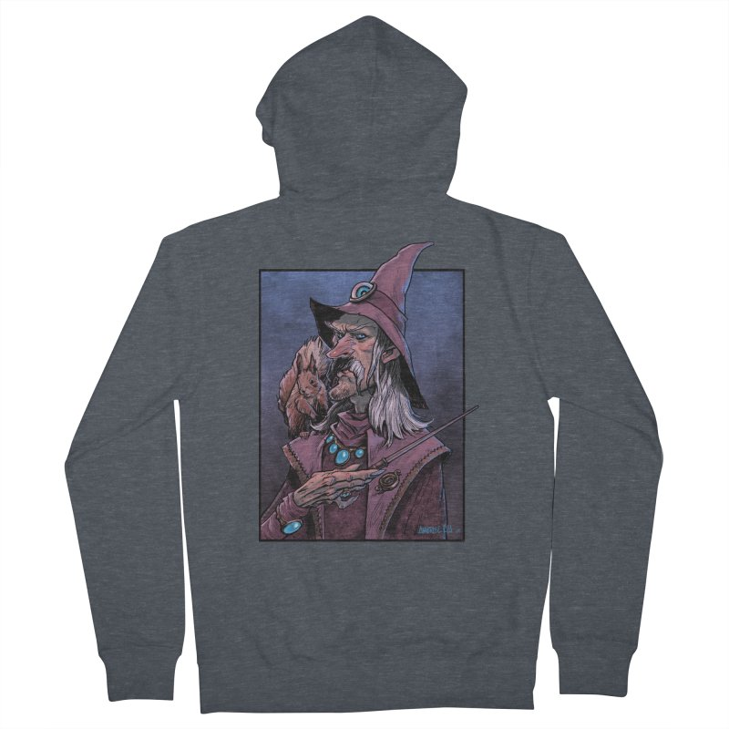Wizard with Squirrel Men's French Terry Zip-Up Hoody by Ambrose H.H.'s Artist Shop