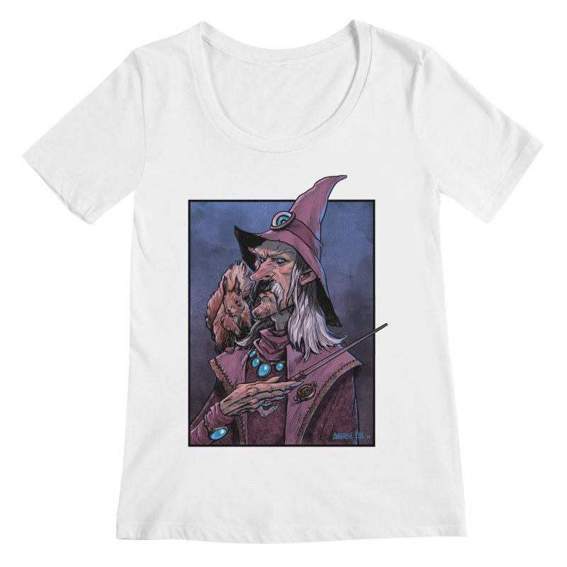 Wizard with Squirrel Women's Regular Scoop Neck by Ambrose H.H.'s Artist Shop