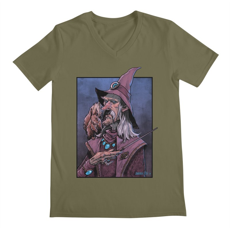 Wizard with Squirrel Men's V-Neck by Ambrose H.H.'s Artist Shop