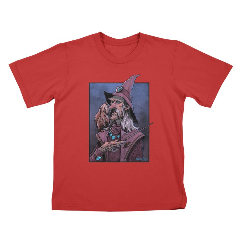Wizard with Squirrel Kids T-Shirt by Ambrose H.H.'s Artist Shop