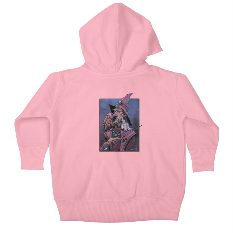 Wizard with Squirrel Kids Baby Zip-Up Hoody by Ambrose H.H.'s Artist Shop