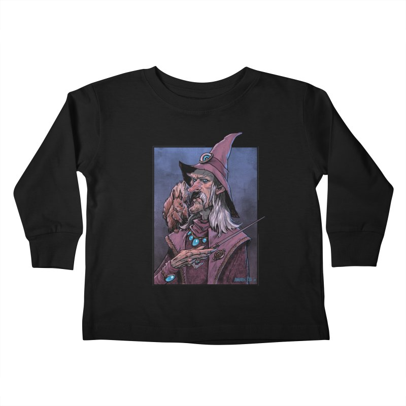 Wizard with Squirrel Kids Toddler Longsleeve T-Shirt by Ambrose H.H.'s Artist Shop