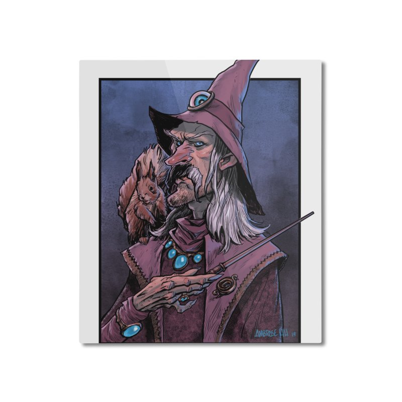 Wizard with Squirrel Home Mounted Aluminum Print by Ambrose H.H.'s Artist Shop