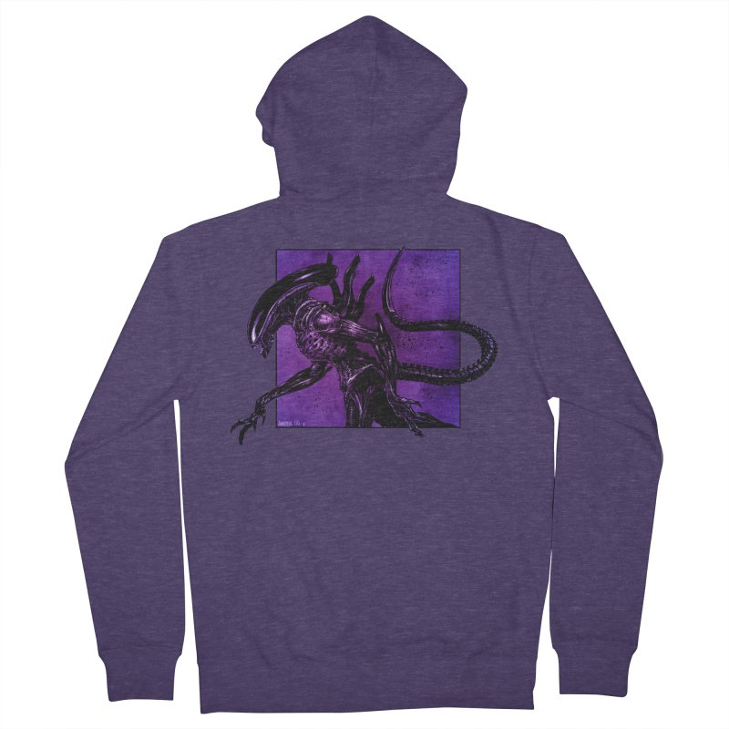 Xenomorph Men's French Terry Zip-Up Hoody by Ambrose H.H.'s Artist Shop