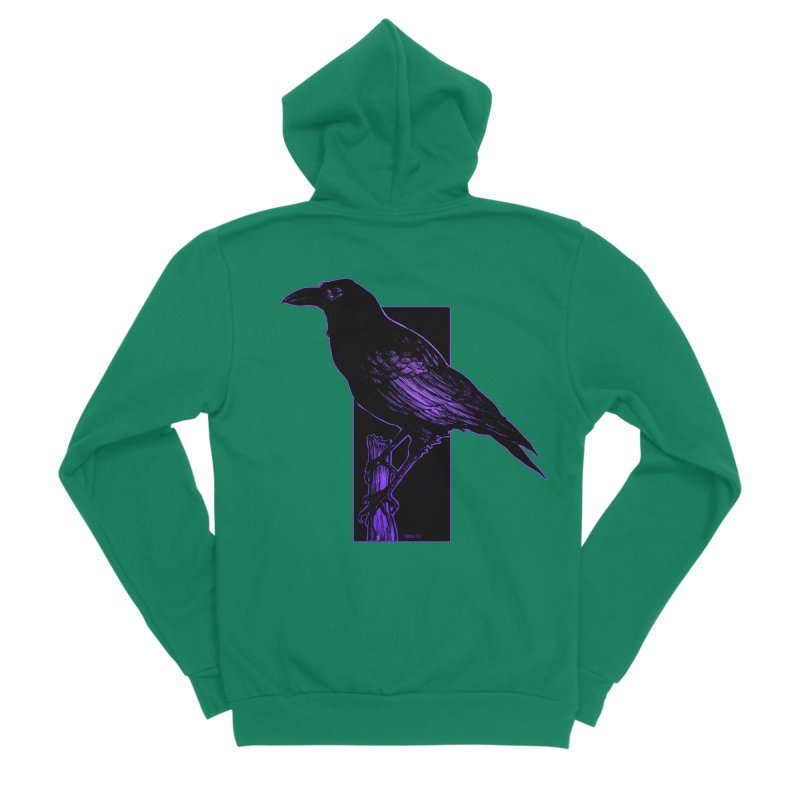 Crow Men's Sponge Fleece Zip-Up Hoody by Ambrose H.H.'s Artist Shop