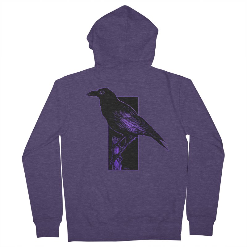 Crow Men's French Terry Zip-Up Hoody by Ambrose H.H.'s Artist Shop