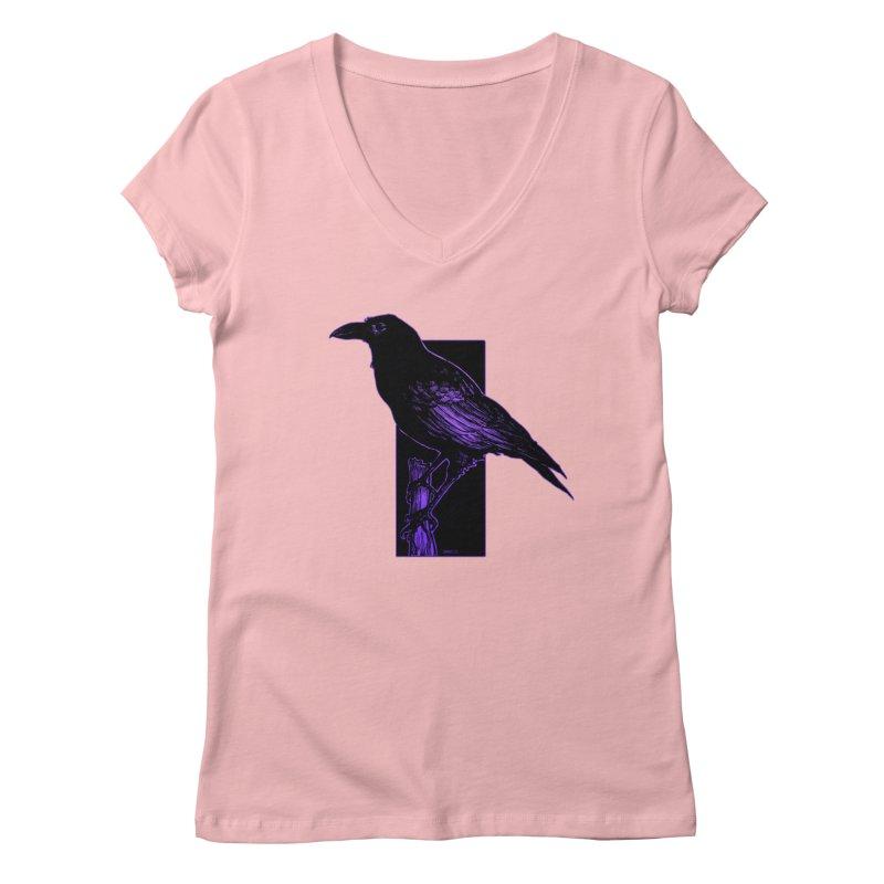 Crow Women's V-Neck by Ambrose H.H.'s Artist Shop