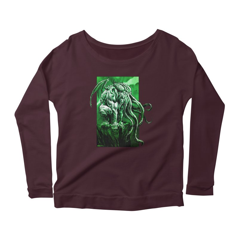 Cthulhu Women's Scoop Neck Longsleeve T-Shirt by Ambrose H.H.'s Artist Shop