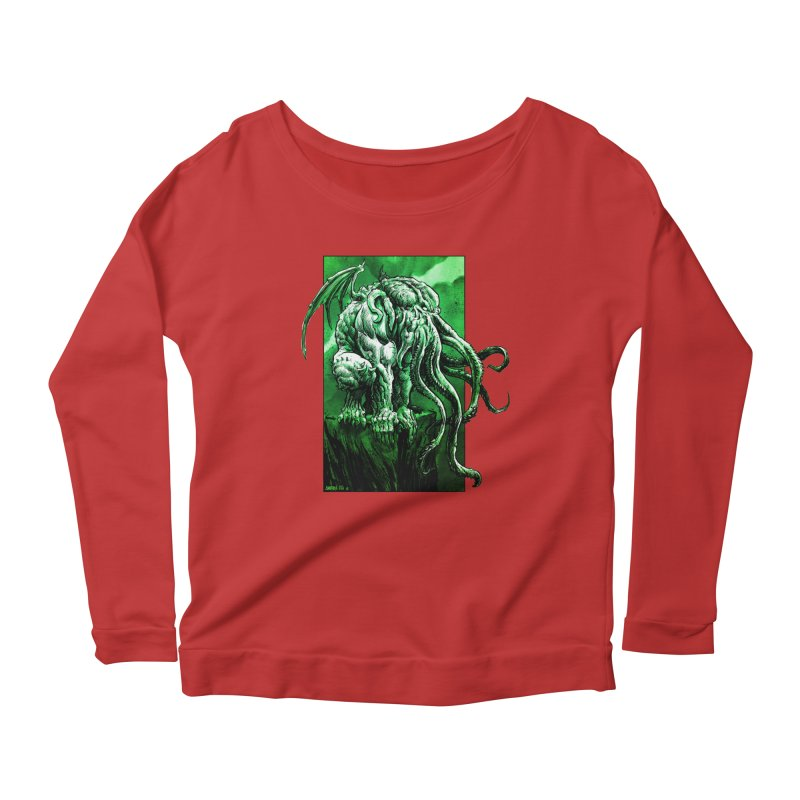 Cthulhu Women's Scoop Neck Longsleeve T-Shirt by Ambrose H.H.'s Artist Shop