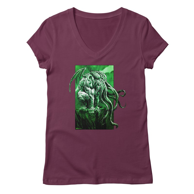 Cthulhu Women's V-Neck by Ambrose H.H.'s Artist Shop