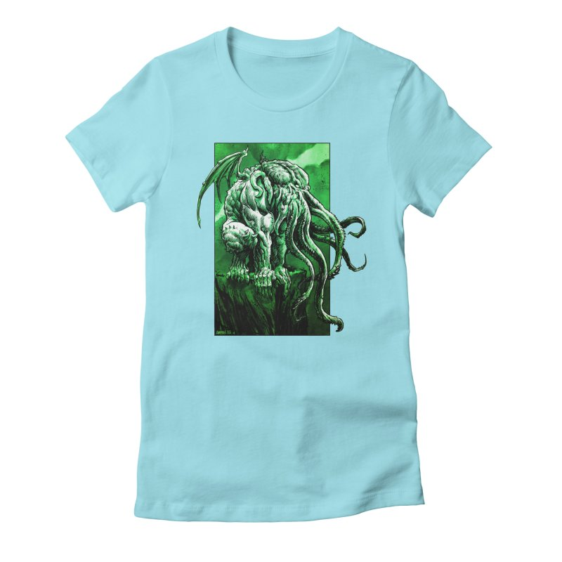 Cthulhu Women's Fitted T-Shirt by Ambrose H.H.'s Artist Shop