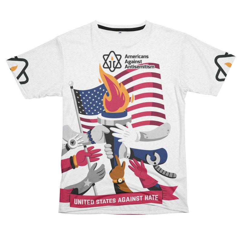United States Against Hate Women's Unisex French Terry T-Shirt Cut & Sew by Americans Against Antisemitism's Artist Shop