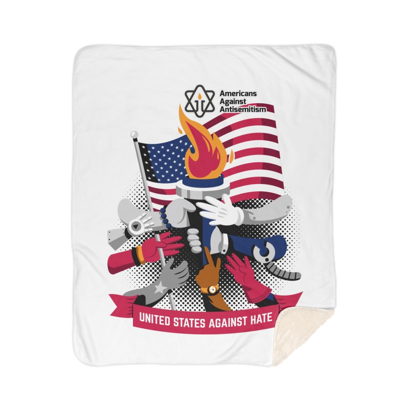 United States Against Hate Home Sherpa Blanket Blanket by Americans Against Antisemitism's Artist Shop