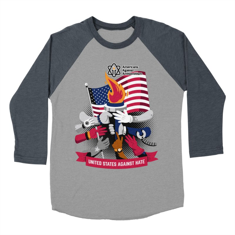 United States Against Hate Women's Baseball Triblend Longsleeve T-Shirt by Americans Against Antisemitism's Artist Shop