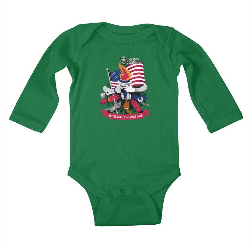 United States Against Hate Kids Baby Longsleeve Bodysuit by Americans Against Antisemitism's Artist Shop
