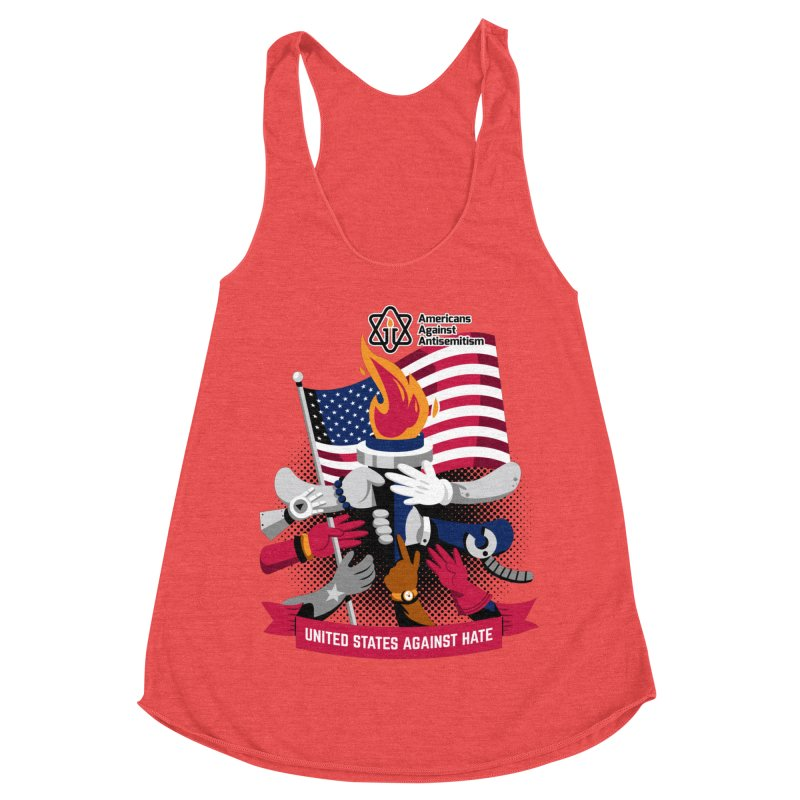 United States Against Hate Women's Racerback Triblend Tank by Americans Against Antisemitism's Artist Shop