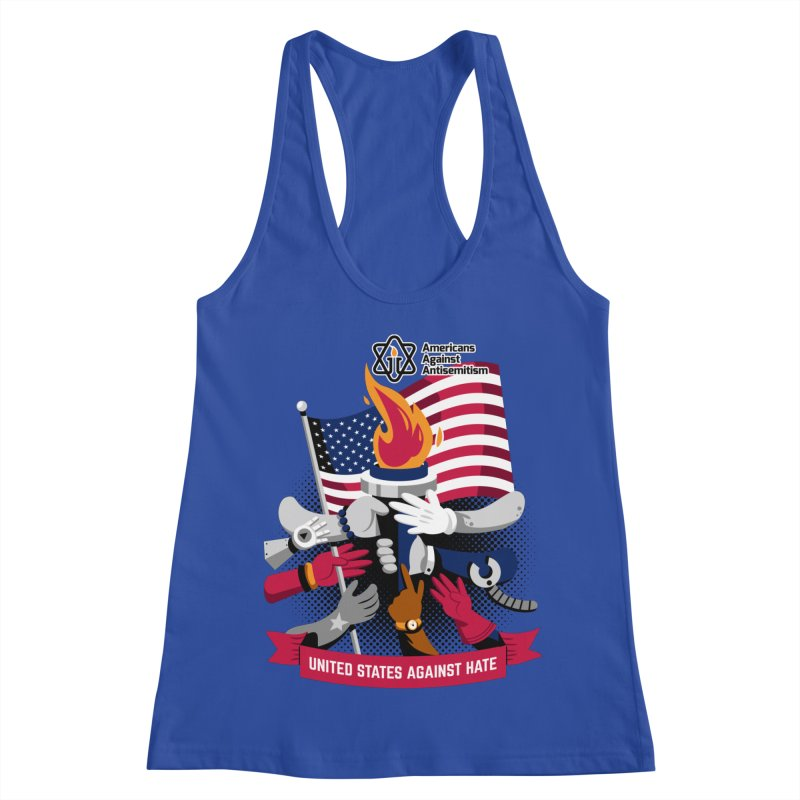 United States Against Hate Women's Racerback Tank by Americans Against Antisemitism's Artist Shop
