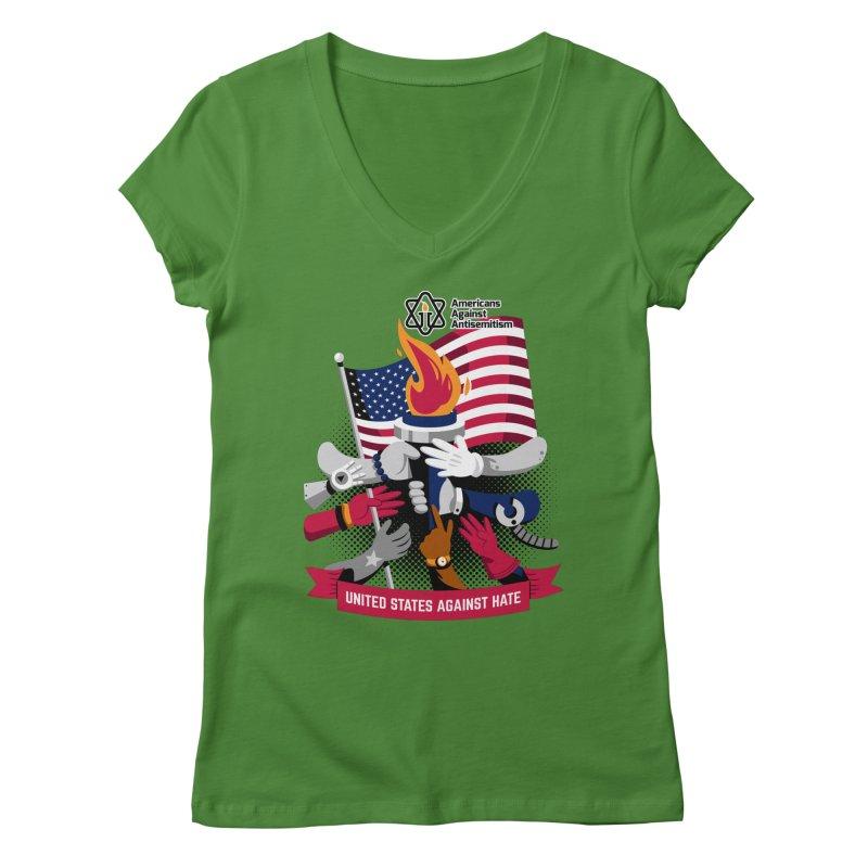 United States Against Hate Women's Regular V-Neck by Americans Against Antisemitism's Artist Shop