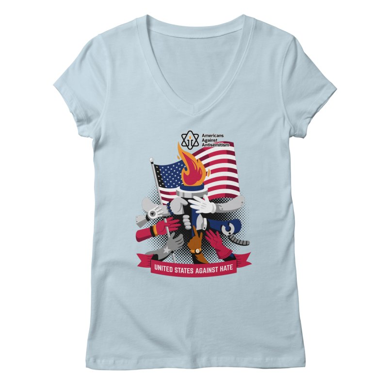 United States Against Hate Women's V-Neck by Americans Against Antisemitism's Artist Shop