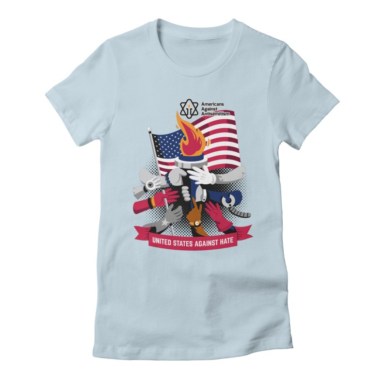 United States Against Hate Women's Fitted T-Shirt by Americans Against Antisemitism's Artist Shop