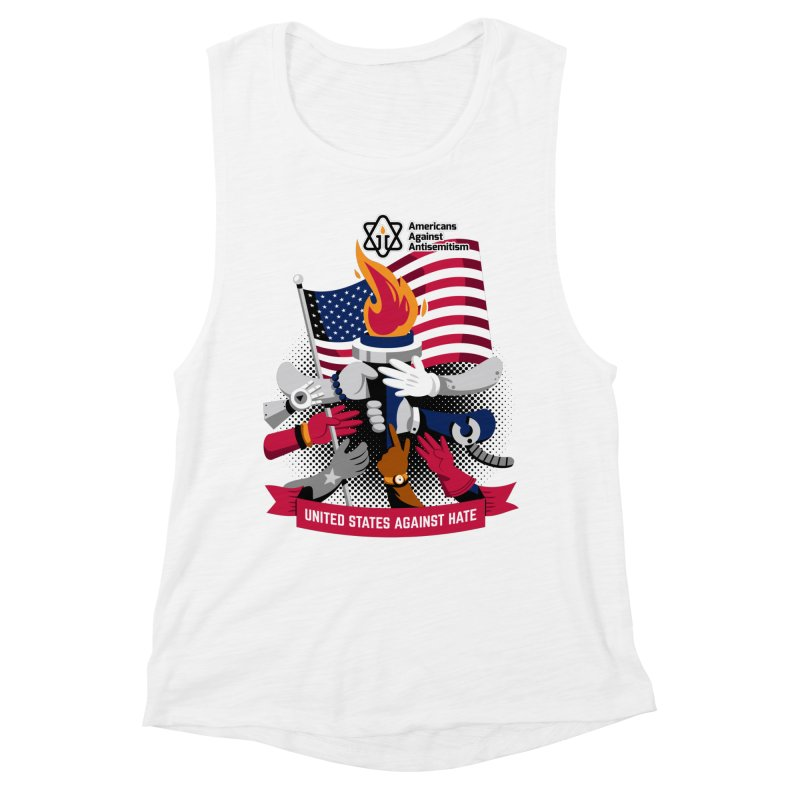 United States Against Hate Women's Muscle Tank by Americans Against Antisemitism's Artist Shop
