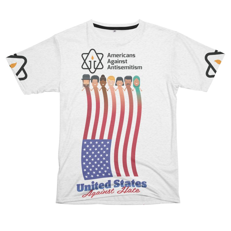 United Faces Against Hate Men's French Terry T-Shirt Cut & Sew by Americans Against Antisemitism's Artist Shop