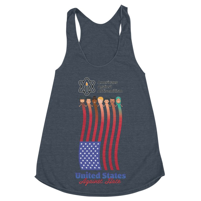 United Faces Against Hate Women's Racerback Triblend Tank by Americans Against Antisemitism's Artist Shop