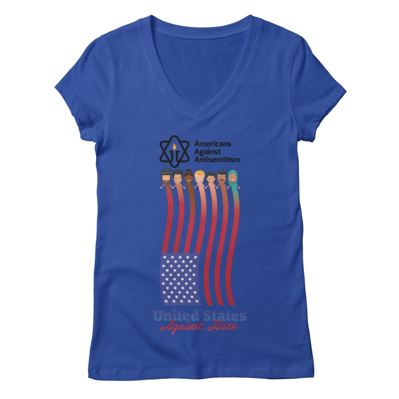 United Faces Against Hate Women's Regular V-Neck by Americans Against Antisemitism's Artist Shop