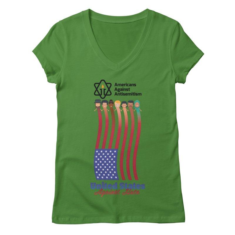 United Faces Against Hate Women's Regular V-Neck by Americans Against Antisemitism's Artist Shop