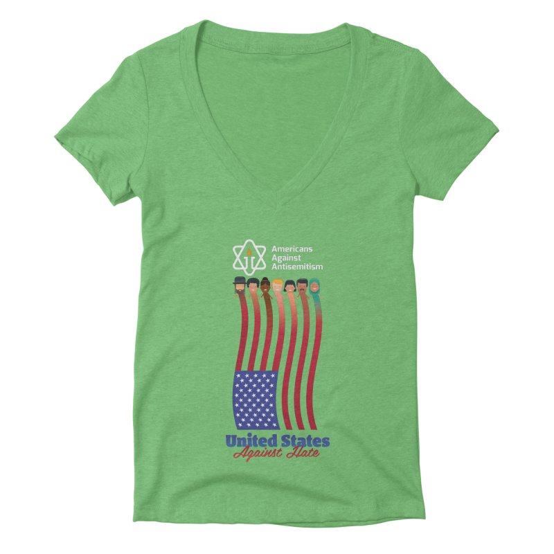 United Faces Against Hate - Dark Background Women's Deep V-Neck V-Neck by Americans Against Antisemitism's Artist Shop
