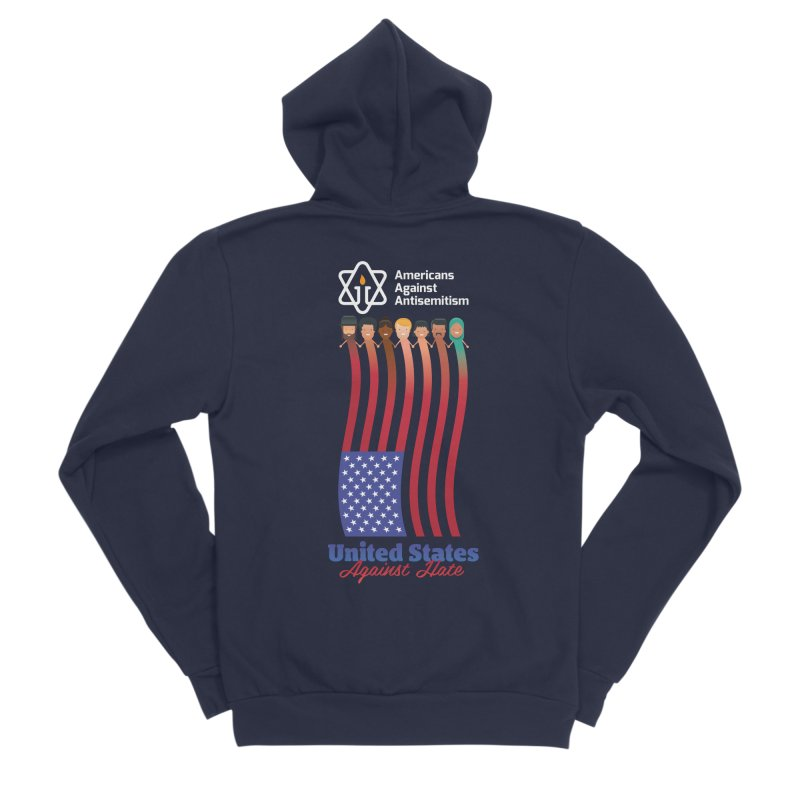 United Faces Against Hate - Dark Background Men's Sponge Fleece Zip-Up Hoody by Americans Against Antisemitism's Artist Shop