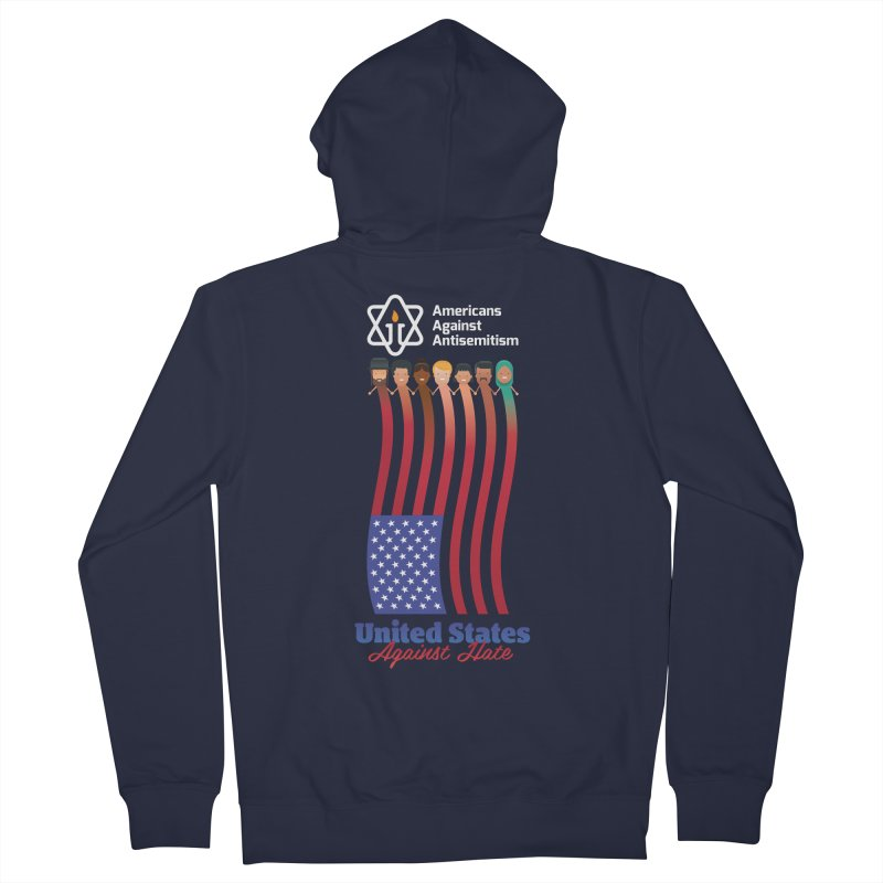 United Faces Against Hate - Dark Background Men's French Terry Zip-Up Hoody by Americans Against Antisemitism's Artist Shop