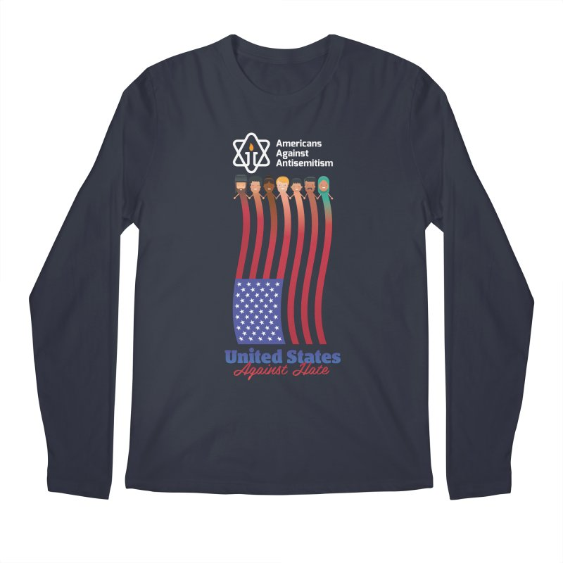 United Faces Against Hate - Dark Background Men's Regular Longsleeve T-Shirt by Americans Against Antisemitism's Artist Shop