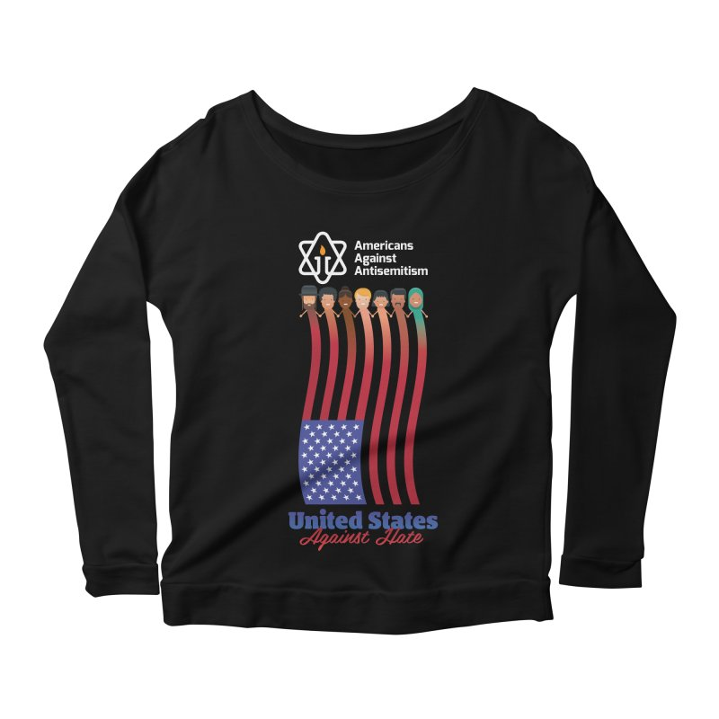 United Faces Against Hate - Dark Background Women's Scoop Neck Longsleeve T-Shirt by Americans Against Antisemitism's Artist Shop