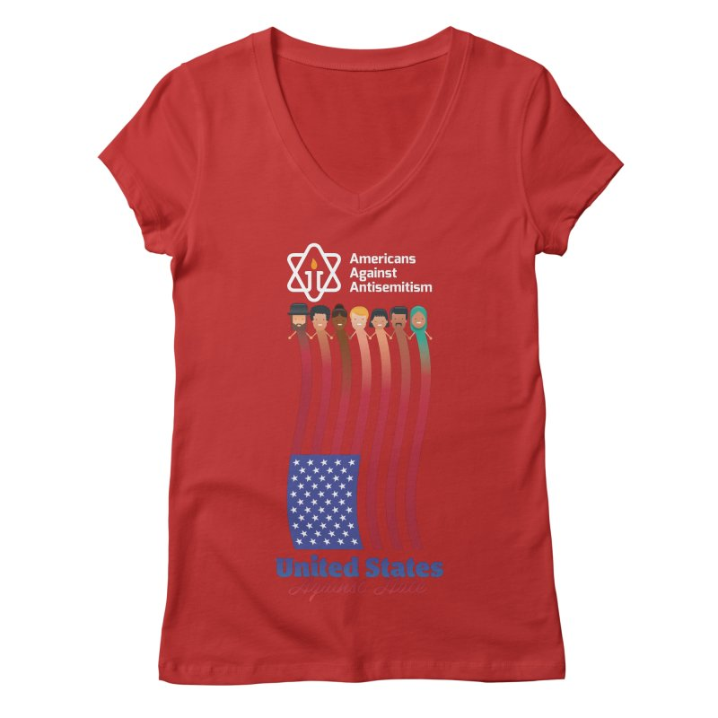 United Faces Against Hate - Dark Background Women's Regular V-Neck by Americans Against Antisemitism's Artist Shop