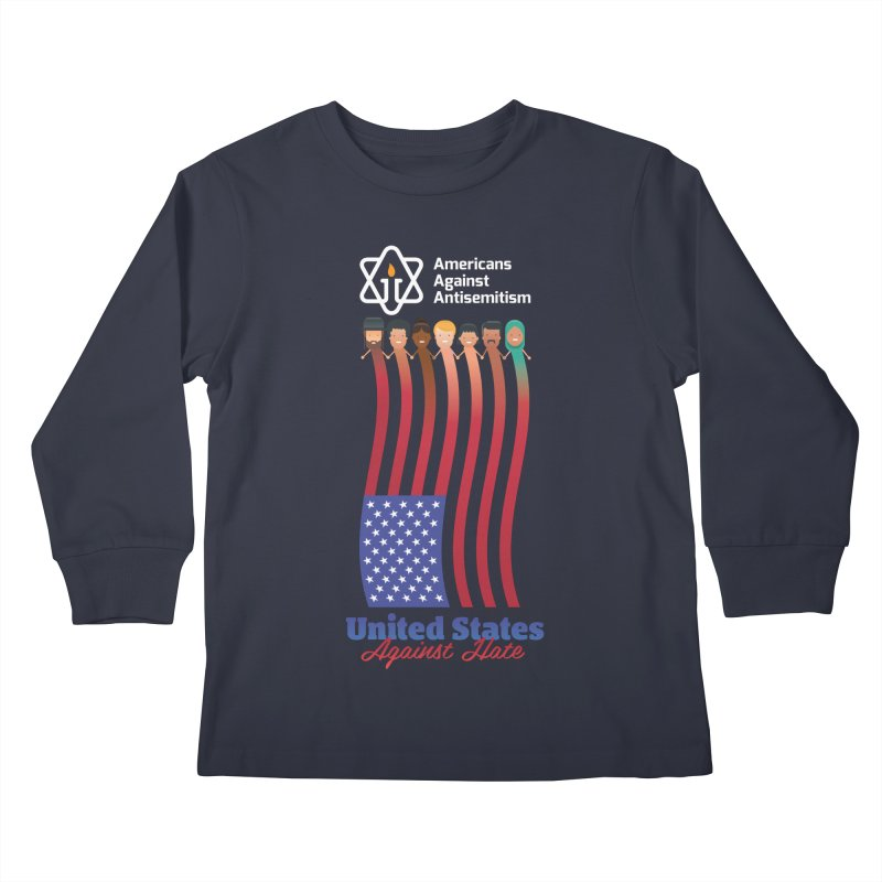 United Faces Against Hate - Dark Background Kids Longsleeve T-Shirt by Americans Against Antisemitism's Artist Shop