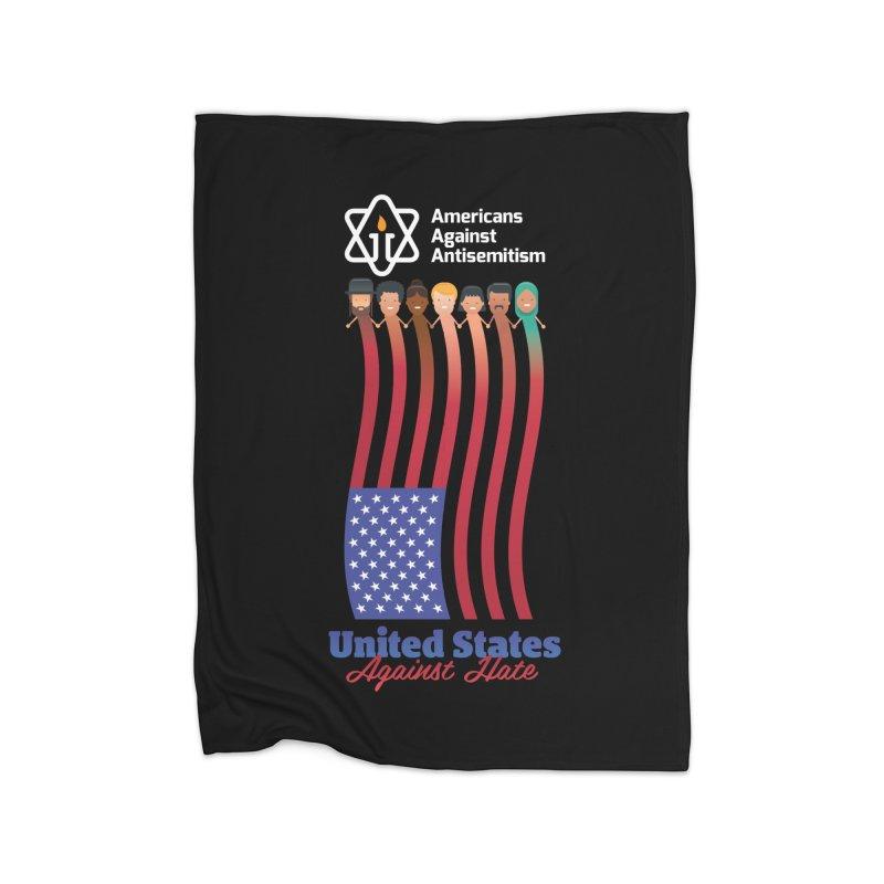 United Faces Against Hate - Dark Background Home Fleece Blanket Blanket by Americans Against Antisemitism's Artist Shop