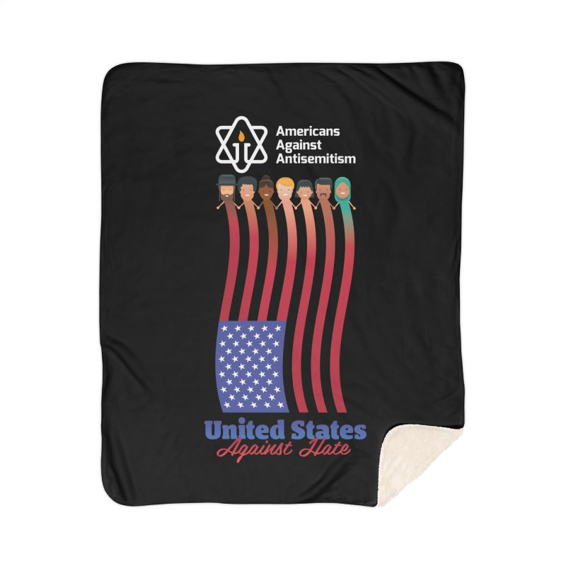 United Faces Against Hate - Dark Background Home Sherpa Blanket Blanket by Americans Against Antisemitism's Artist Shop