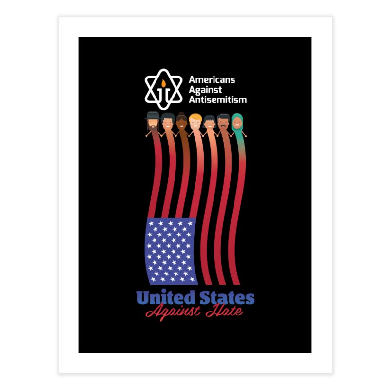 United Faces Against Hate - Dark Background Home Fine Art Print by Americans Against Antisemitism's Artist Shop