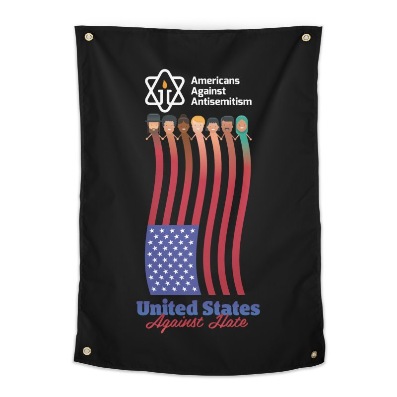 United Faces Against Hate - Dark Background Home Tapestry by Americans Against Antisemitism's Artist Shop