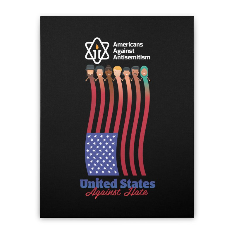 United Faces Against Hate - Dark Background Home Stretched Canvas by Americans Against Antisemitism's Artist Shop